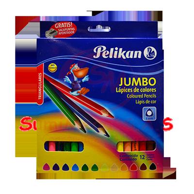 COLORES JUMBO X 12 TRIANG+SACAP PELIKAN