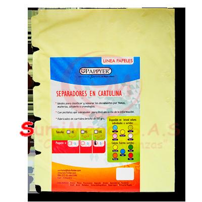 SEPARADOR CARTULINA 105 X 5 AMARILLO PAPIER (500)