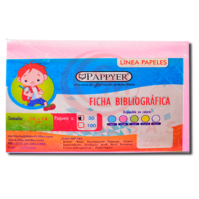 FICHA BIBLIOGRAFICA ROSADA X 50 FABRIFOLDER (250)