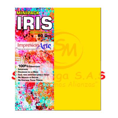 HOJAS IRIS CARTA X 20 AMARILLO