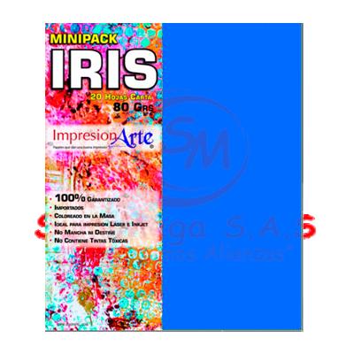 HOJAS IRIS CARTA X 20 AZUL