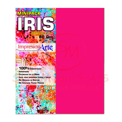 HOJAS IRIS CARTA X 20 FUCSIA