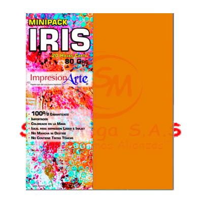 HOJAS IRIS CARTA X 20 NARANJA