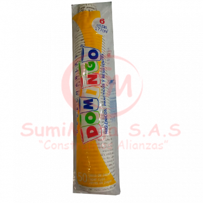 VASO DES. 6,0 OZ CARTON IMPRESO DOMINGO X 50 (20)